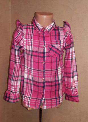 Яркая  рубашка с рюшами на 6 лет в идеальном состоянии