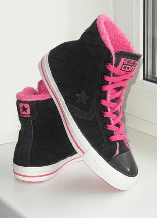 Ботинки, хайтопы, кеды, кроссовки converse, на меху, оригинал....