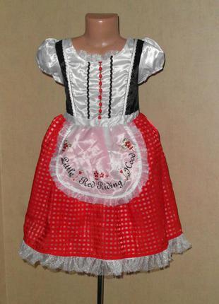 Карнавальное платье, новогоднее платье красная шапочка на 5-7 лет