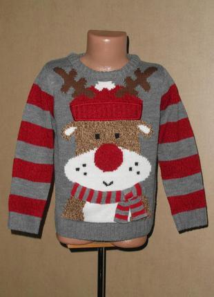 Свитер, новогодний свитер на 4-5 лет с олененком
