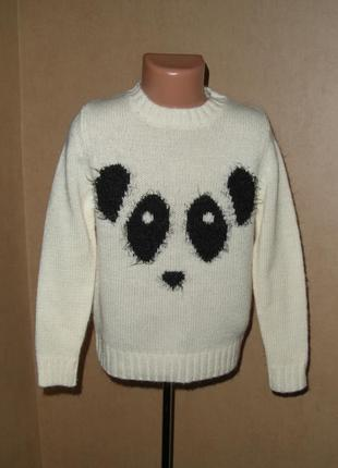 Теплый и милый свитер на 7-8 лет с пандой
