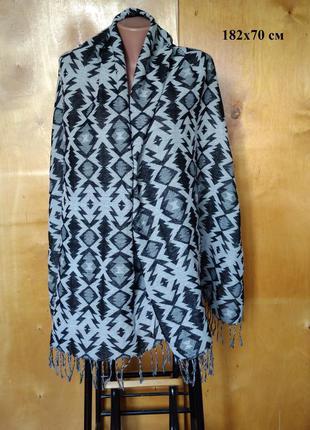 182х70 см изысканный двусторонний шарф шаль палантин в черно с...
