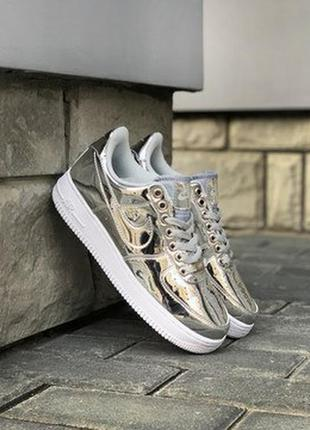 😍женские кроссовки nike air force 1 low metallic silver