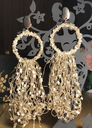 Крупные длинные велюровые серьги-гвоздики  кольца с бахромой, ...