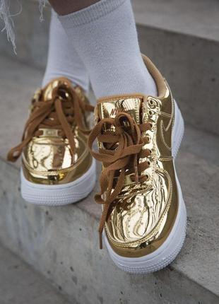 Nike air force женские золотые кроссовки найк (весна-лето-осень)😍