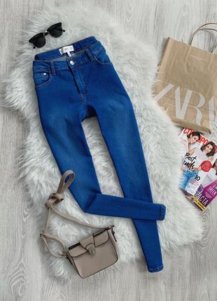 🌿 синие базовые джинсы скинни mango isa с разрезикамм
