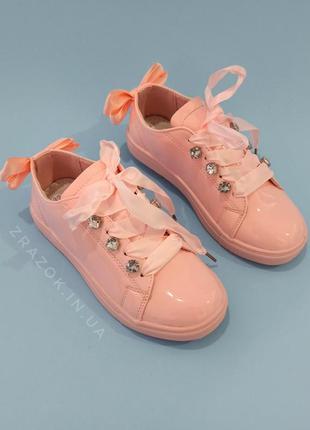 Розовые кроссовки с бантиком кеды с бантом туфли с лентами с с...