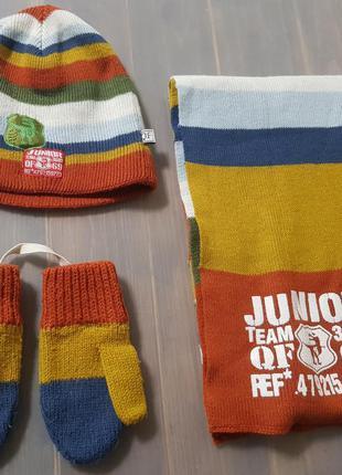 Шапка шарф и варежки quadri foglio  весна-осень