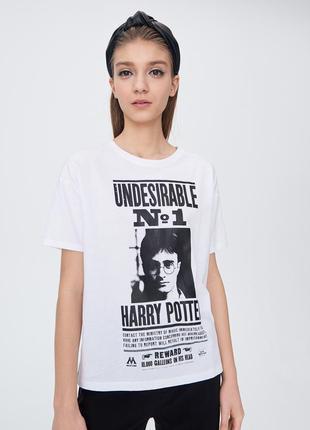 Новая широкая белая футболка польша принт надпись harry potter...