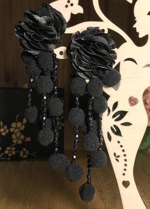 Длинные серьги гвоздики из помпонов, бисера и тканевых цветов,...