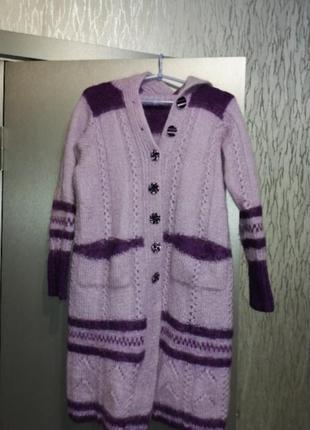 Экслюзивное шерстяное пальто кардиган
