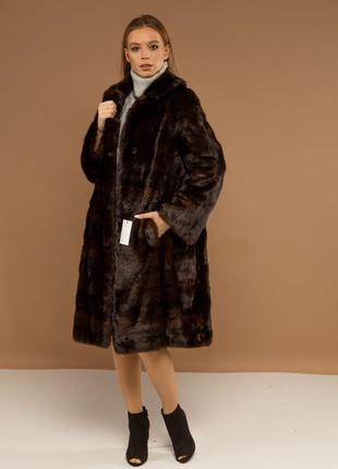 Норковая шуба пальто поперечка италия шикарный вариант модель ...