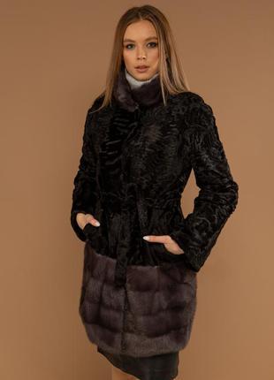 Эксклюзивная шуба пальто  полушубок из каракульчи с финской ау...