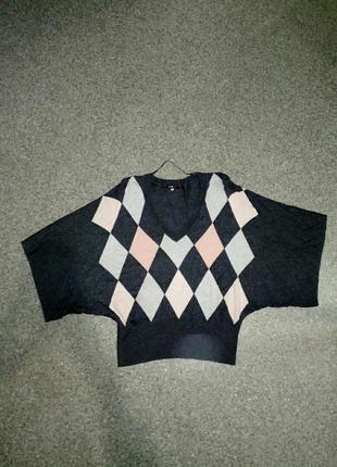 Шерстяной свитер с рукавами летучая мышь