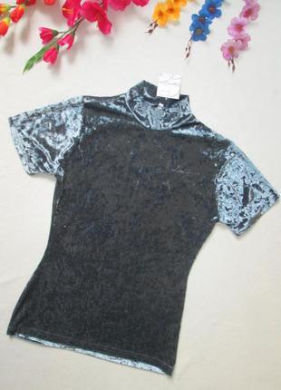 Суперовая трендовая бархатная велюровая футболка водолазка мет...