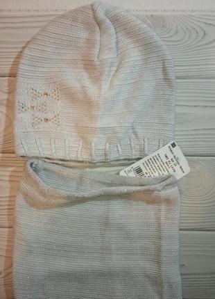 Вязаная шапка  и хомут agbo (польша) для детей с люрексной нитью