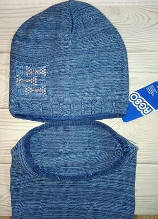 Вязаная шапка  и хомут agbo (польша)для детей с люрексной нитью