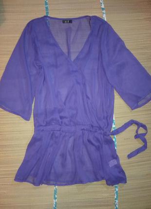 Короткая пляжная пенюар шифоновая накидка туника блуза прозрач...