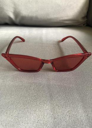 Новые красные имиджевые очки солнцезащитные трендовые узкие очки