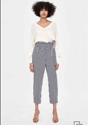 Брюки в полоску zara/штаны полосатые/стильные брюки в полоску