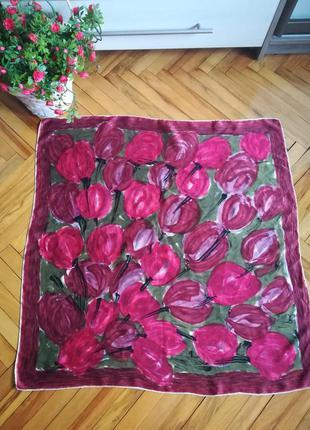 Винтажний шелковий, атласний платок