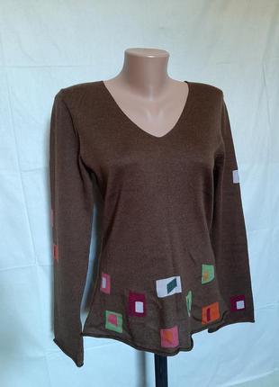 Шерстяной мериносовый джемпер свитер  шерсть мериноса 100%