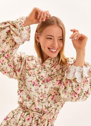 Платье в цветочный принт обьемный рукав воротник-стойка 2020 🔥
