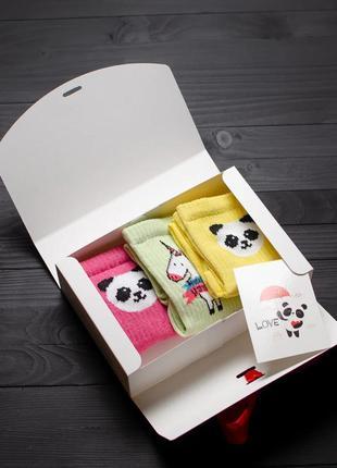 Подарочный набор женский носки 3 шт. панда жёлтый, розовый, ед...