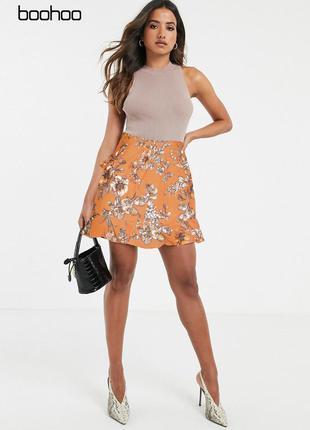 Оранжевая юбка с цветочным узором и оборками boohoo