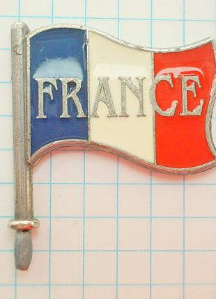 "Мини флажок ""Флаг Франции"" Металл. Горячие эмали"