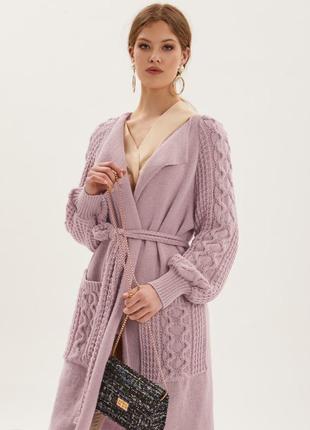 Кардиган пальто крупной вязки пудра 2020🔥