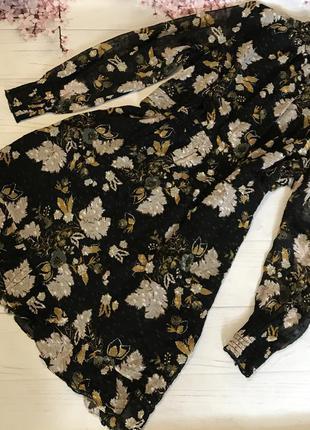 Платье нарядное шифон цветы волан  цветастое шёлк модное от wh...
