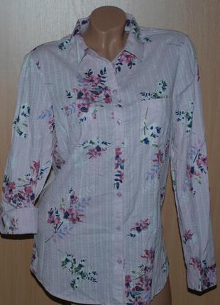 Рубашка 100%хлопок бренда m&co / нежно пудрового цвета в цвето...