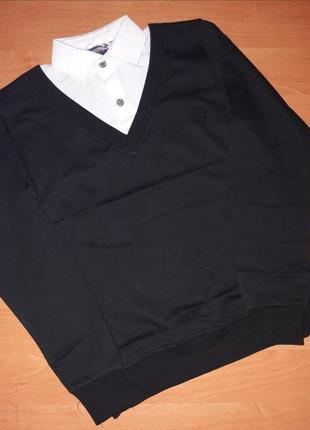 Джемпер-обманка для мальчика черный джемпер+белая рубашка (вор...