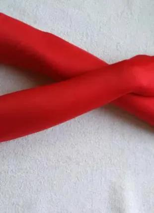 Перчатки длинные атласные красные за локоть бифлекс