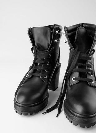 Кожаные ботильоны zara со шнуровкой