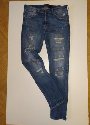 Джинсы штаны с потёртостями и дырками