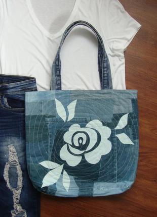 Джинсовая сумка белая роза эксклюзив