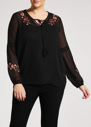 Шикарная блуза футболка с вышевкой вышеванка батал