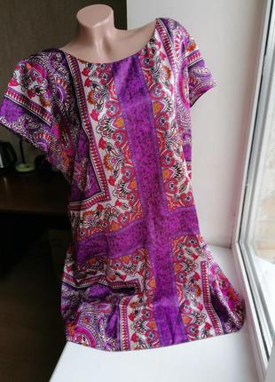 Платье атласное разноцветное принт рисунок узор tu 18р (к037)