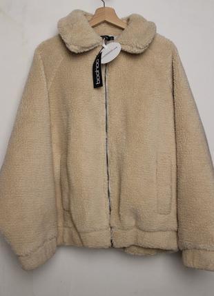 Boohoo новая курточка Тедди шубка мишка пушистая бежевая oversize