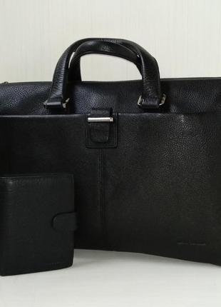 Кожаный мужской набор портфель (для ноутбука) + портмоне marco...