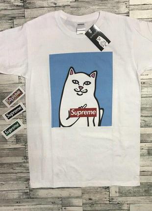 Футболка supreme ripndip• белая футболка• суприм• рипндип