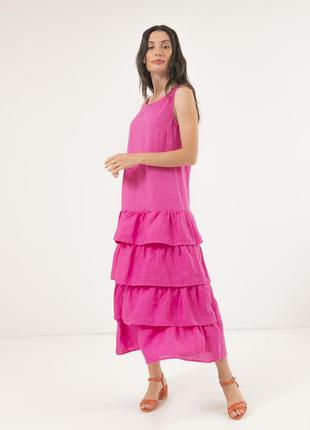 Летнее платье season из льна с оборками цвета фуксия