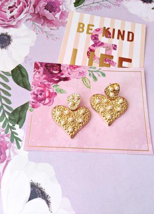 Золотые серьги сердце/жемчуг/белый/стильно/тренд/новая коллекция