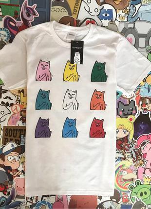 Белая футболка ripndip с котиками• футболка рип н дип• ориг бирки