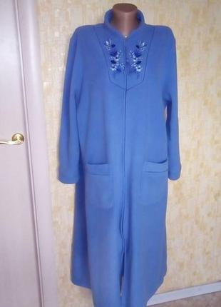 Красивый флисовый халат с вышивкой/халат/платье/юбка/ночная со...