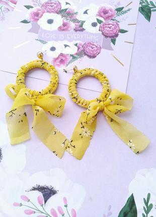 Текстильные серьги кольца/бант/платок/желтый/этно/бохо/новая к...