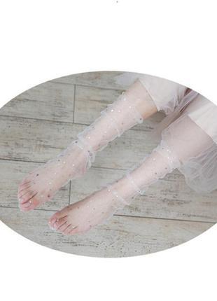 Белые носочки боббинетки/сетка/фатин/звезды/звездочки/новая ко...