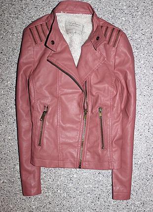 Куртка кожанка косуха тёплая одежда для девочки 8-9 лет